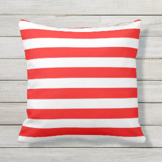 Red & White Bold Stripes Outdoor Pillow 16x16