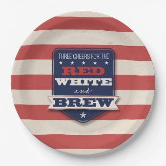 Red White & Brew Patriotic 9 Inch Paper Plate