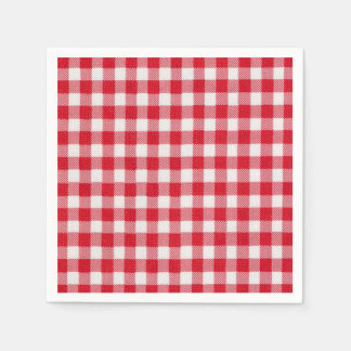 Red White Check Memorial Day Party Paper Napkins