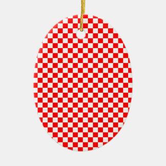 Red & White Checked Pattern Ceramic Ornament