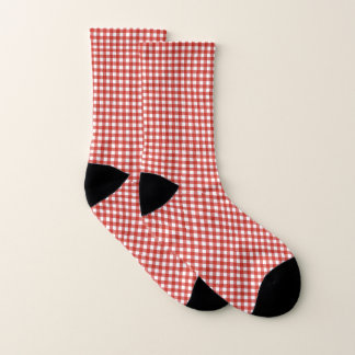Red White Checker Retro Gingham Cozy Socks