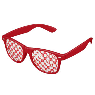 Red white checkerboard pattern retro sunglasses