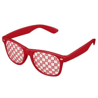 Red white checkerboard pattern retro sunglasses