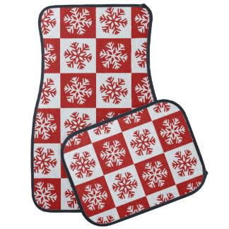 Red white checkerboard snowflake car mat set
