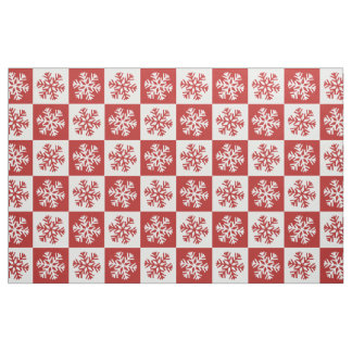 Red white checkerboard snowflake print fabric