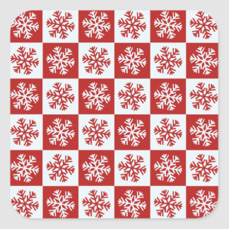 Red white checkerboard snowflake stickers