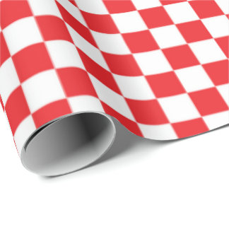 Red white checkered pattern wrapping paper