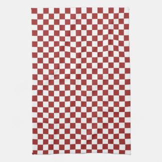 Red White Checkered Squares Kitchen Towel