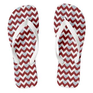RED/WHITE CHEVRON GREY HEARTS FLIP-FLOP FLIP FLOPS