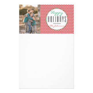 "Red & White Chevron ""Happy Holidays"" Personalized Stationery"