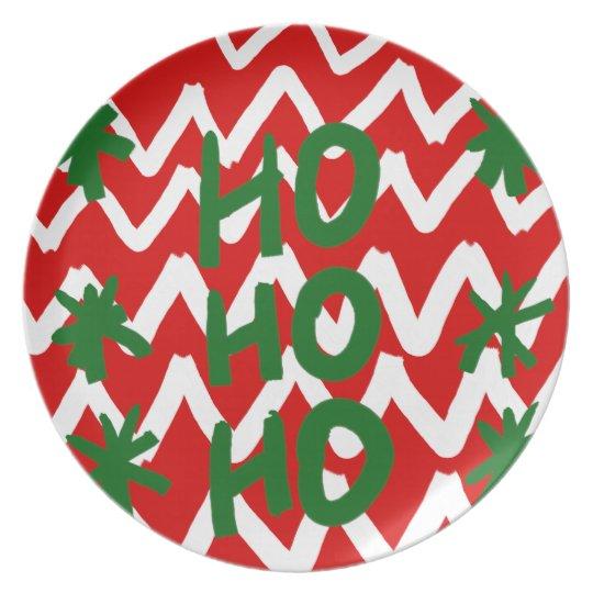 Red White Chevron Ho Ho Ho Christmas Pattern Plate