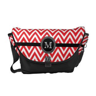 Red white chevron monogram Rickshaw messenger Courier Bag