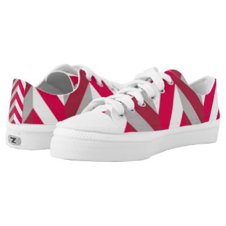 Red White Chevron Pattern Print Design Low-Top Sneakers