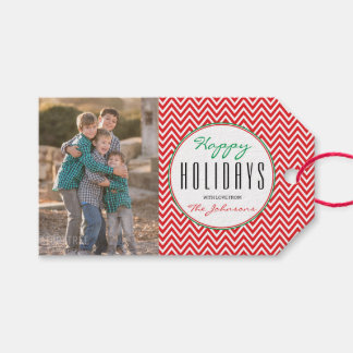 Red & White Chevron Personalized Xmas Photo Gift Tags