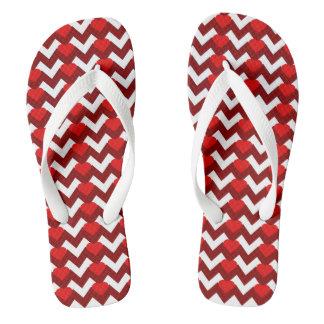 RED/WHITE CHEVRON RED HEARTS FLIP-FLOP FLIP FLOPS
