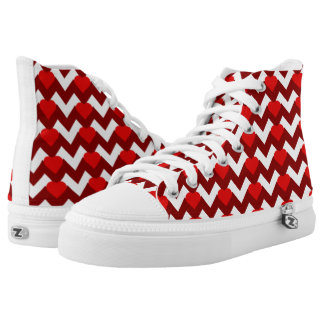 RED/WHITE CHEVRON RED HEARTS HIGH-TOP SNEAKERS