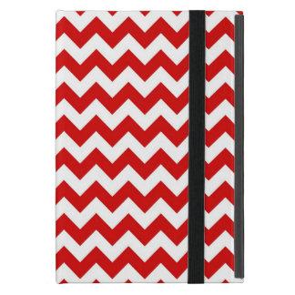 Red White Chevron Zig-Zag Pattern iPad Mini Covers