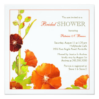 Red + White Chic Floral Bridal Shower Card