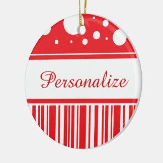 Red & White Christmas Ceramic Ornament