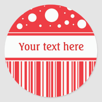 Red & White Christmas Classic Round Sticker