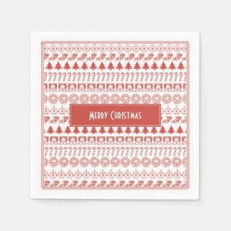 Red/White Christmas Picture Fonts Fun Pattern Disposable Napkins