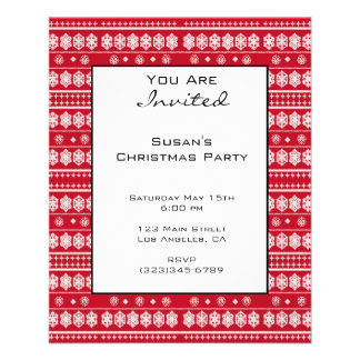 Red White Christmas Snowflake Pattern Flyer