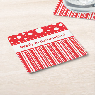 Red & White Christmas Square Paper Coaster