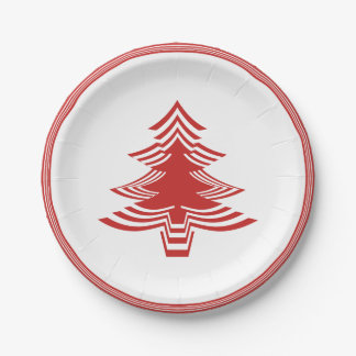 Red/White Christmas Tree Font Geometric Pattern Paper Plate