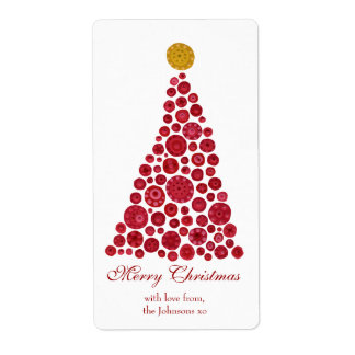 Red & White Christmas Tree Gift Present Tags Shipping Label