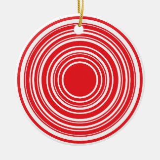 Red White Concentric Circles Bulls Eye Design Round Ceramic Ornament
