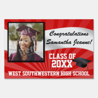 Red/White Custom Photo Graduation Yard Sign