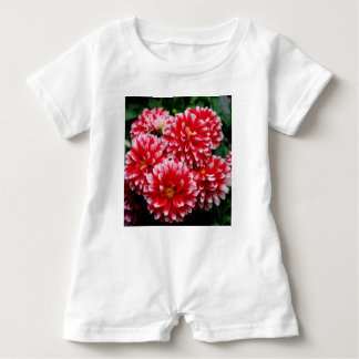 Red & White Dahlias Baby Romper