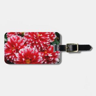 Red & White Dahlias Luggage Tag