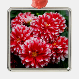 Red & White Dahlias Metal Ornament
