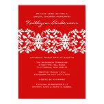 Red & White Damask Bridal Shower Invitation