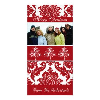 Red & White Damask Pine Holiday Family Pictures Photo Card