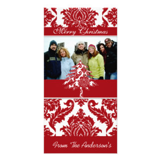 Red & White Damask Pine Holiday Family Pictures Photo Greeting Card
