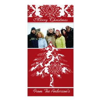 Red & White Damask Pine Holiday Family Pictures Custom Photo Card