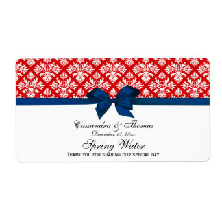 Red, White Damask Water Label, Navy Bow Shipping Label