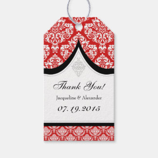 Red White Damask Wedding Thank You Tags Pack Of Gift Tags