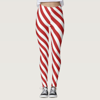 Red White Diagonal Candy Cane Stripes Holiday Leggings