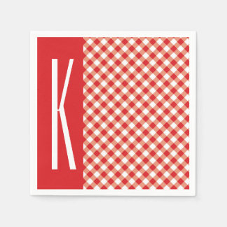 Red & White Diagonal Gingham. Paper Napkin