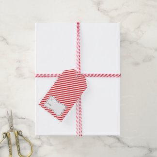 Red White Diagonal Stripes Holiday Gift Tag