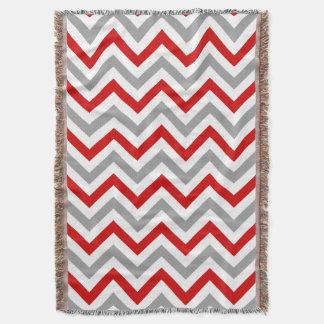 Red, White, Dk Gray Large Chevron ZigZag Pattern Throw Blanket