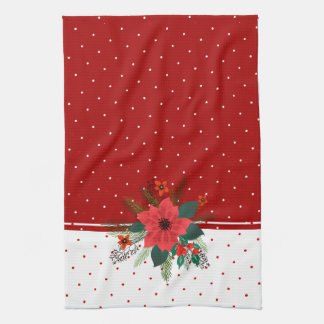 Red & White Dots Christmas Flowers Bouquet Kitchen Towel