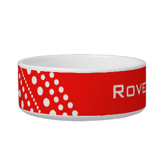 Red & White Dots Circle Pattern Kitchen Gifts Pet Bowls