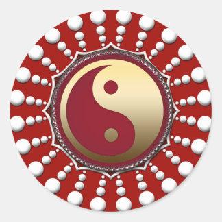 Red&White Dots Golden Yin Yang Sticker