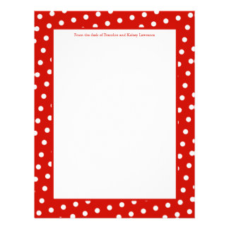 Red & White Dots Stationery w/ Signature Text