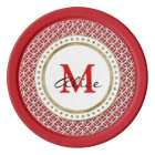 Red White Elegant Abstract Circles Pattern Poker Chips
