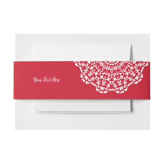 Red White Elegant Classy Lace Personalized Invitation Belly Band